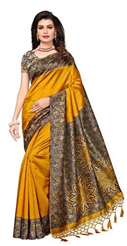 Indira Designer Women's Art Mysore Silk Saree With Blouse (Yellow)