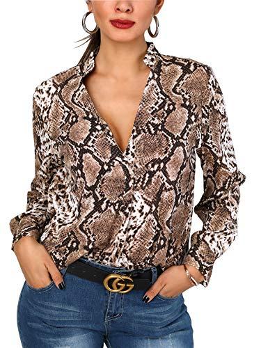 Damen Freizeit Lange Ärmel V-Ausschnitt Blumen Bluse Elegante Frauen Tunika Oberteile Vintage Hemd T-Shirt (Braun Schlangenleder-Muster, Small) -