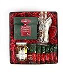 KAMINFEUER Geschenkdose mit würzigem Tee, feinem Shortbread, Teeglas, Honig und Kandis