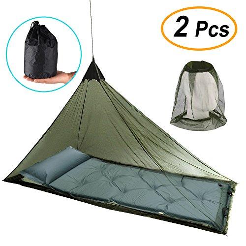 FEPITO Moskitonetz für Einzel-Camping-Bett und Moskito-Mücke Insektenkopf-Net-Hut für Reisen Camping Angeln Wandern, mit 4 Heringe und 1 Tragetasche als Bonus