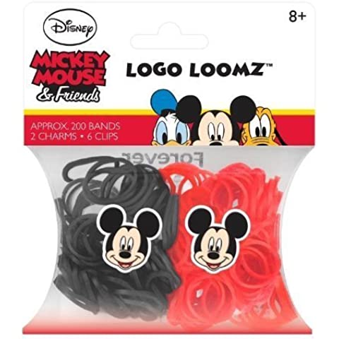 Hit Entertainment Licensed Logo Loomz Filler Loom Bands & 2 Charm Pack - Disney, DC Comics & More! (Disney Mickey Mouse) by Forever Collectibles
