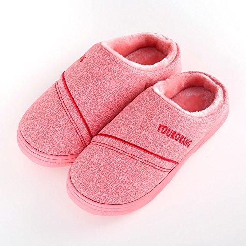 Inverno fankou coppie PU pelucchi pantofole home femmina anti-skid addensamento alla fine dei draghi indoor pantofole caldi Braun