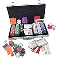 Poker Set 300 Pieces Texas Holdem Casino Gambling Poker chip Kit. Aluminium Case Games, 300 Casino Chips,2 Decks Of Playing Cards,All In &Dealer Button,5 Dice, Deck Card Divider Accessories Black Jack