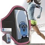 iTALKonline Samsung i9600 Galaxy S5 SV Plus Bébé Rose Noir réglable eau / résistant à l'humidité Sport GYM Jogging Arm Band Brassard couverture de cas avec l'argent de poche casque Key