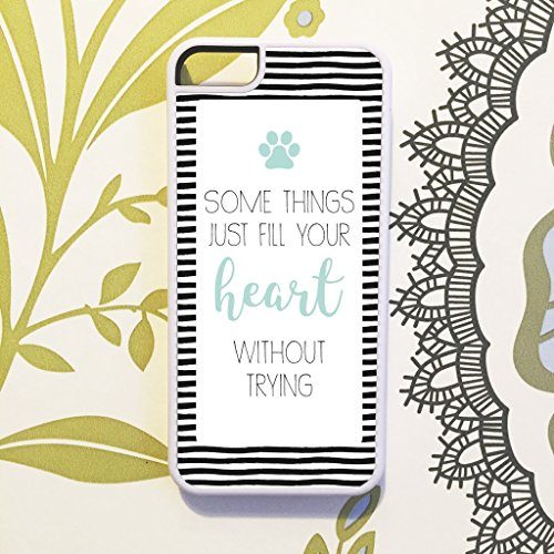Woods & Wills Some Things Fill Your Heart Paw Print Stripes Miniature Doxie Dachshund Dachie Pet Dog Phone Case Cover For iPhone 6 & 6S (4.7 inch) - in WHITE (Print Diamond Shirts)