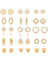 Touchstone Gold and White Crystals Faux Pearls Metal Combo Earrings for Women - Pack of 30