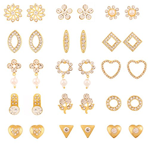 Touchstone Gold Plated Combo Of 15 Pair Stud Earrings For Women