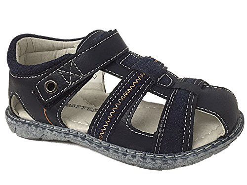 Boys Infant Chatterbox Faux Leather Touch Close Strap Cut Out Gladiator Flat Casual Beach Summer Sandals Size 4-12 (UK 7 Infant, Navy)