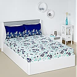 Solimo Jasmine Zest 144 TC 100% Cotton Double Bedsheet with 2 Pillow Covers, Blue