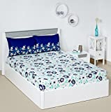 #2: Solimo Jasmine Zest 144 TC 100% Cotton Double Bedsheet with 2 Pillow Covers, Blue