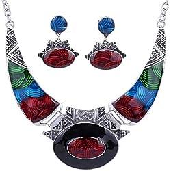 YAZILIND Étnico Relieve Oval Gangle Tibetano Astilla Bib Collar Pendientes Collar Conjunto de Joyas