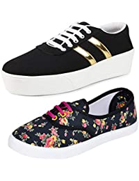 Bersache Women's Perfect Combo Pack of 2 Canvas Casual Sneakers Shoes - Multicolour