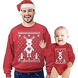 Shirtgeil Rentier Schneemann Ugly Xmas Weihnachtspulli & Weihnachtsbody als Partnerlook Mann Rot XX-Large/Baby Rot 62/68 (3-6M)