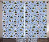 ABAKUHAUS Pfadfinder Rustikaler Gardine, Camping-Ikonen-Zelt-Gitarre, Schlafzimmer Kräuselband Vorhang mit Schlaufen und Haken, 280 x 225 cm, Mehrfarbig