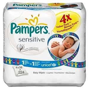 Pampers - 81254662 - Lingettes Sensitive - 4 x 56 Lingettes
