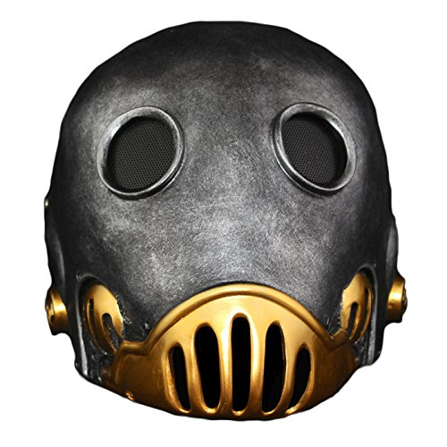 nihiug Halloween Fiberglas Schutz Hellboy Barrender Cos Dress Up Sammleredition Harz Maske,Silver-OneSize