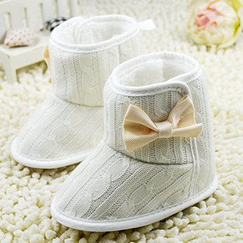 Etosell Bebe Fille Tricot Neige Bottes Hiver Blanc