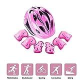 LVPY Set di Casco per Bambini - 7 Pezzi Regolabile Casco Bici Protezioni Set con elmetto Protezione Polso Gomito per Protezione Bambina - Rosa