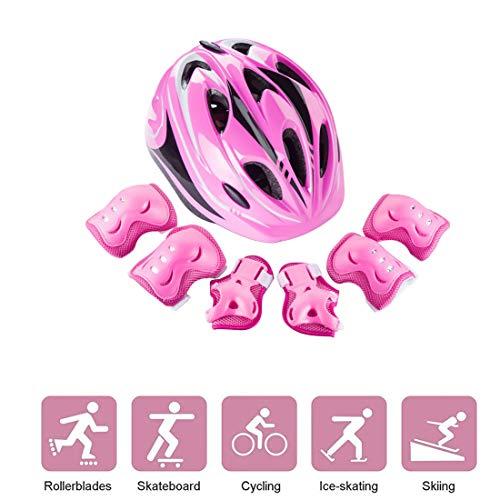 LVPY Protektorenset, 7 Stück Kinder Radfahren Roller Skating Knieschoner Ellenbogenschützer Handgelenkschoner Schutzpolster Set für Kinder Skateboard Inline Skate Outdoor Sport Pad Set-Rosa