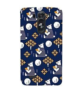 Blue KIDDISH Teddy Bear Pattern 3D Hard Polycarbonate Designer Back Case Cover for LG G3 Beat :: LG G3 Vigor :: LG G3s :: LG g3s Dual