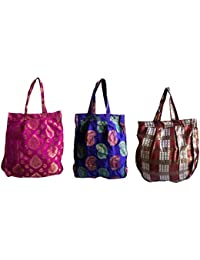 Style And Culture Silk Brocade Combo 3 Pcs For Multi Purpose Use- Cosmetic Bag, Lunch Bag, Shopping Bag, Gift...