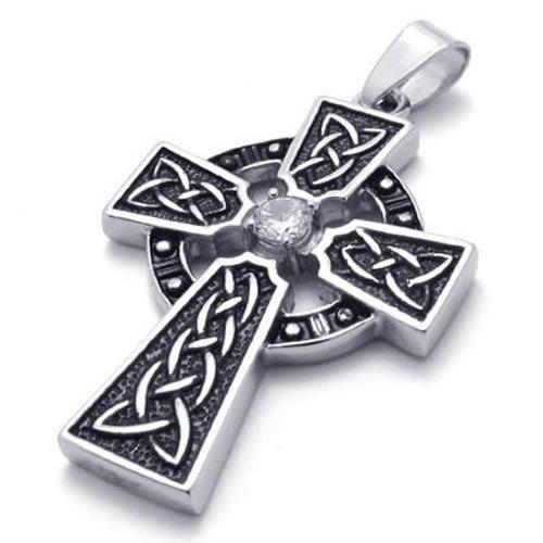 KONOV Schmuck Edelstahl Retro Keltisch Knoten Kreuz Anhänger mit 60cm Kette, Halskette für Herren Damen, Schwarz Silber (Edelstahl Keltischer Kreuz Anhänger)