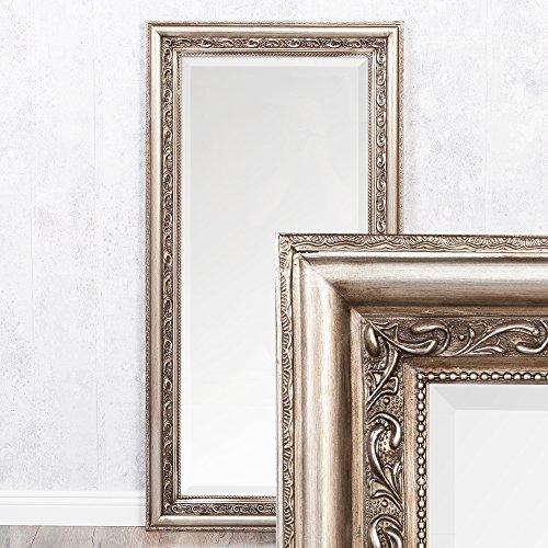 LEBENSwohnART Wandspiegel Argento barock 120x60cm Spiegel Silber-Antik Holzrahmen und Facette