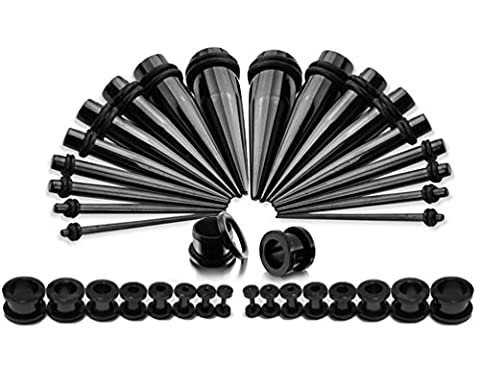 Taper Kit 36 Pieces Black Stainless Steel with Screw Fit Plugs 18 Pairs 1.6mm-10mm Taper (Acciaio Di Stretching Taper Plug)