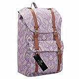 Quenchy London Canvas Rucksack - Damen Frauen Casual Daypack Tagesrucksack Taschen - 25 Liter Medium Schule Handgepäck Rucksäcke – Klassische Retreat-Tasche - 15 Farben - 45cm x 30 x 19 QL9163Pu