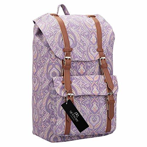 Quenchy London Canvas Rucksack - Damen Frauen Casual Daypack Tagesrucksack Taschen - 25 Liter Medium Schule Handgepäck Rucksäcke - Klassische Retreat-Tasche - 15 Farben - 45cm x 30 x 19 QL9163Pu