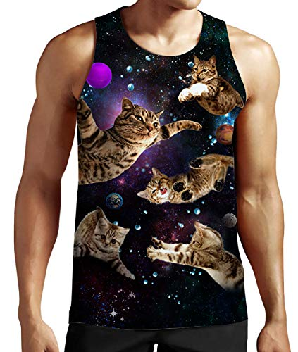 Printed Cat T Shirt Lustige Grafik Tank Top für Männer - Männer Tank Lustig Top
