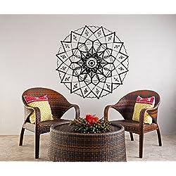 Adhesivos de pared Mandala indio patrón Yoga Oum Om vinilo decoración del hogar arte murales dormitorio estudio ventana (T51), vinilo, 96cmTall x 96cmWide
