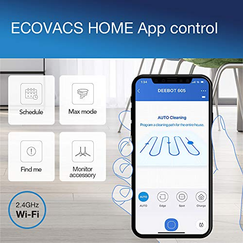 ECOVACS DEEBOT 605 - Aspirateur robot nettoyeur - Pour sols durs et tapis - Aspirateur sans fil programmable via smartphone et compatible avec Amazon Alexa