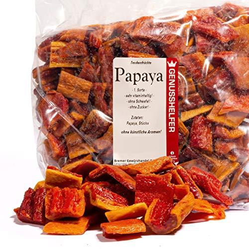 Papayas Trockenfrüchte, Stücke, 1kg, ohne Zuckerzusatz & ungeschwefelt, zum Naschen und zum Müsli - Bremer Gewürzhandel