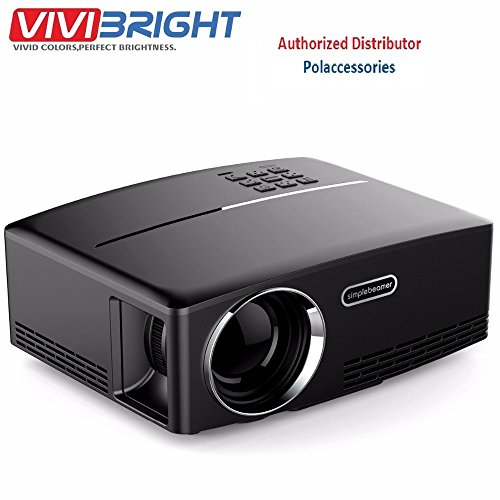 ViviBright GP80 1800LM 1920*1080 HD Home Theater Portable LED Projector with Remote Controller, Support HDMI, VGA, AV, USB Interfaces (Black)