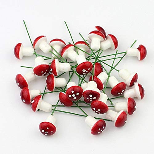 Yogamada 10 Mini Foam Red Mushroom Garden Miniature Potted Succulent Bonsai CraftFeatures:Simulated plant small mushroom flower arrangement, workmanship is fine and realistic.Can be used as a material for DIY handmade garlands.As an ornament for Chri...