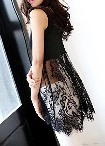 URqueen Women's Fashion Stitching Camisole Long Tank Vest Lace Dress Black
