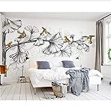 3D Murales Papel Pintado Pared Calcomanías Decoraciones Fondo De Vuelo De Hoja De Ginkgo En Blanco Y Negro De Estilo Decorativo Para El Hogar Art º Chicas Habitación (W)400X(H)280Cm