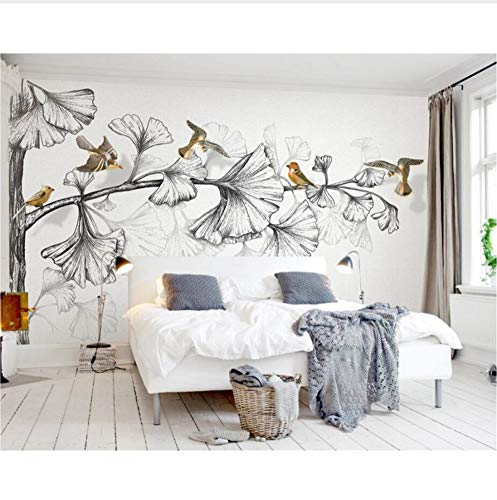 Custom Wallpaper 3D Dekorativer Wandbild-Stil Black & White Sketch Ginkgo-Blatt 3D Fliegendes Tv-Wand-Hintergrundbild Beibehang Möbeldekoration (W)400x(H)280cm