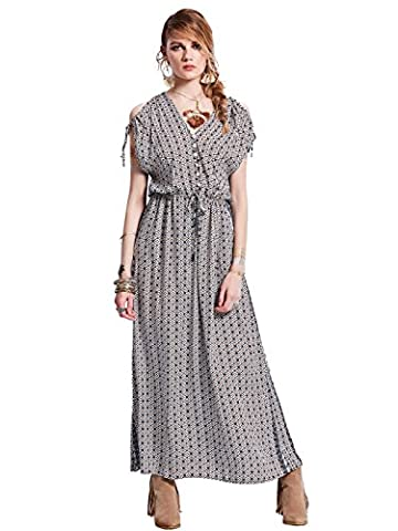 Bohoartist - Robe - Trapze - Manches Courtes - Femme gris Coffee&Grey&Blue - gris, Multicolore, XXLarge