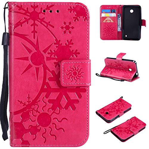 Ycloud Einzigartig PU Leder Tasche für Nokia Lumia 635 Wallet Flipcase mit Standfunktion Kartenfächer Entwurf Sternenhimmel Prägung Rose Rot Hülle