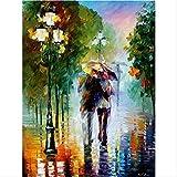 ZGGDYY malen nach Zahlen Romantische Figur im Regen DIY Digitale Wandkunst Leinwand Malerei einzigartiges Geschenk Dekoration 40x50cm(16x20in)