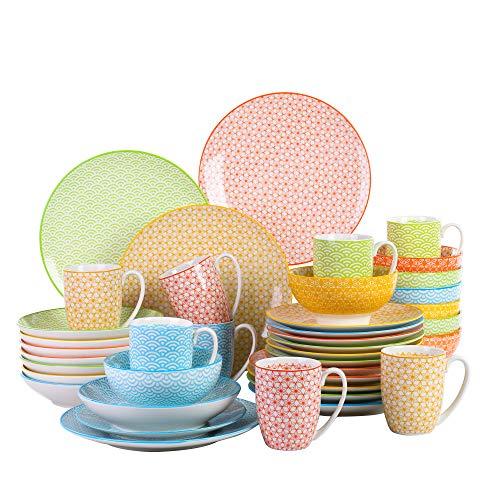 Vancasso natsuki, servizio piatti set 40 pezzi, servizio da tavola per 8 persone porcellana stile multicolore con piatti da dessert, tazza da caffè, piatti piatto, ciotole per cereali, piatti fondi