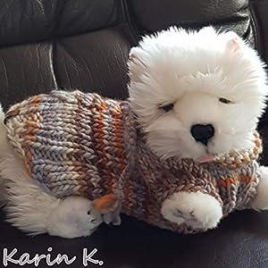 Handgestrickter Pullover für einen kleinen Hund (Rückenlänge: 29 cm) in Sand, Wollweiß, Beige, Ocker, Gelborange und…