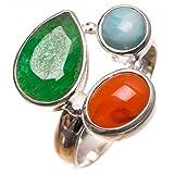 stargems (TM) Natürliche Smaragd, Karneol und Karibik Larimar handgefertigt Vintage 925Sterling Silber Ring, UK Größe P