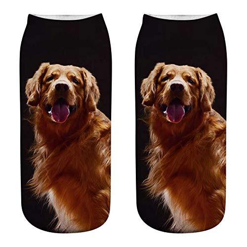 (GSYDWZZH 5x 3D Socken 3D Drucken Hund Art Seamless Socken Weiblich Baumwolle Hund Mops weiblich Sommer Socken Atmungsaktive Socken, JP221)