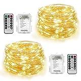 YIHONG 2 Stück Batterie Lichterkette 100 LEDs 10M Wasserdicht 8 Modi mit Fernbedienung und Timer DIY Dekoration Kupferdraht für Weihnachten, Garten, Hochzeit-Warmweiß