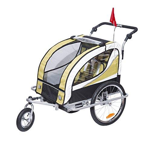 HOMCOM 440-001YL 2 in 1 Fahrradanhänger Jogger 360° Drehbar für Kinder, gelb, schwarz