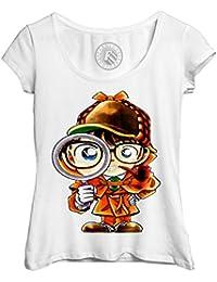 e6b3722187e T-Shirt Femme Col Rond Echancré Enfant Detective Conan Manga Japon