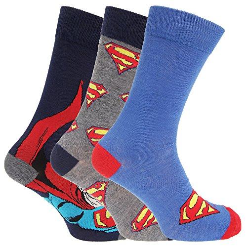 perman-Design, 3er-Pack (39-45 EU) (Marineblau/Grau/Blau) (Superman Socken)
